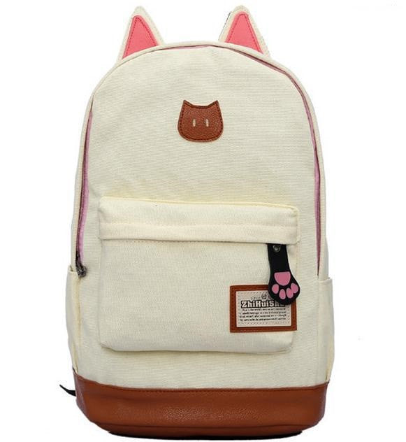 Campus Girl Women Cartoon Cat Ear Shoulder Bag Backpack Schoolbag Women Canvas Backpacks Travel Hiking Bags Rucksack