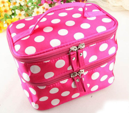 2cd46f3a91 Lady Double Cosmetic Bag Retro Dot Beauty Case Makeup Bag Set Kit Toiletry  Bag