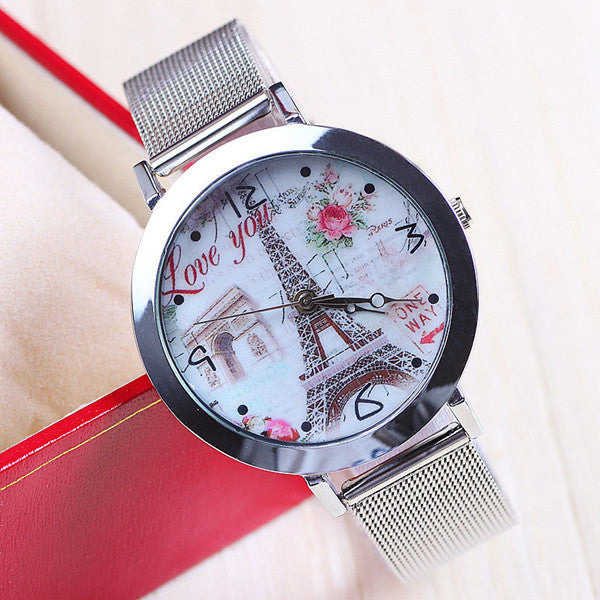 New Fashion Eiffel Tower Watch Stainless Steel Watch for Women Dress Watch Flower Watch