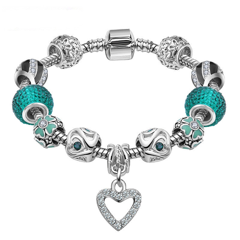 Best LOVE Gift Silver Plated Heart Charm bracelet for Women Murano Glass Beads Jewelry Original Bracelets Cuff Bracelet