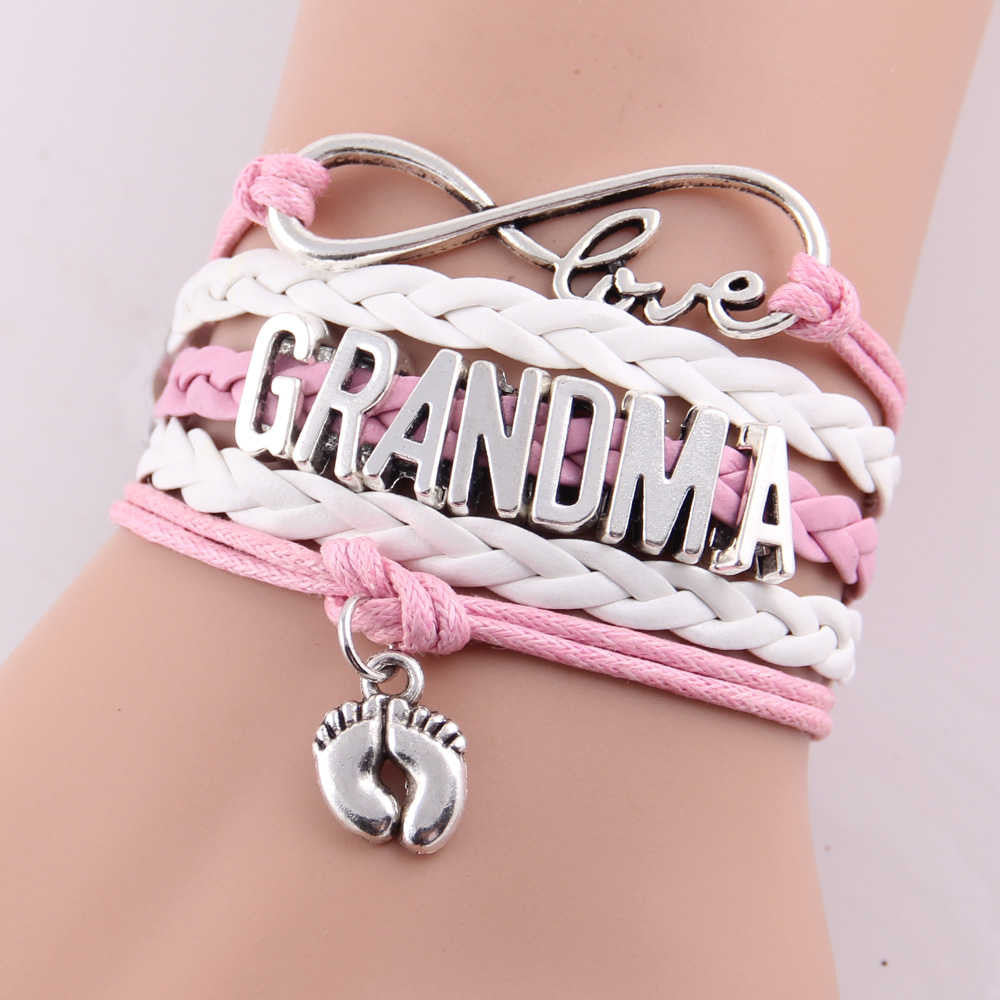 Best gift Infinity love mom & grandma heart feet love wins Rope charm Bracelets for women Wrap Leather bracelets bangles