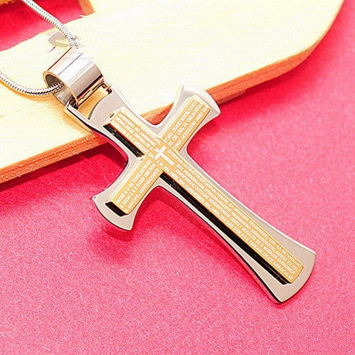 Bible Scripture Cross Pendant Necklace For Mens Stainless Steel Jewelry