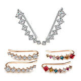 Big Dipper Four-Prong Setting 7pcs CZ Gold Plated Ear Hook Stud Earrings Fashion Jewelry