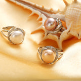 925 sterling silver jewelry on sale big natural pearl rings for women stone ring adjustable white/pink/purple pearl