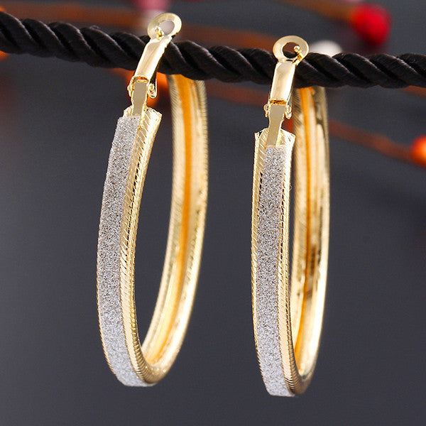 Vintage Scrub Round Earring Trendy Statement Gold & Silver Earrings Women Jewlery