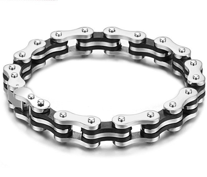Biker Jewelry Stainless Steel Men Bracelet Black Silicone Mens Bracelets Fashion Motorcycle Bicycle Chain Bracelets Bangles Men