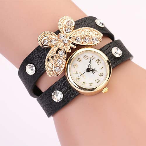 New women vintage leather strap watches,set auger butterfly rivet bracelet women dress watch,women wristwatch