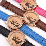 Fashion Ladies Quartz Watch Women Rhinestone Watches Alloy Analog PU Band Kitty Crystal Hour Wristwatches