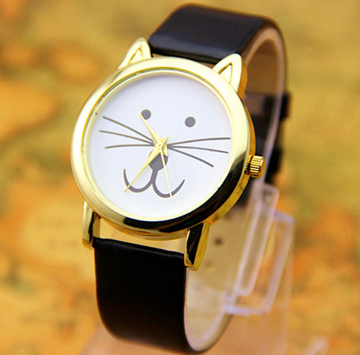 Leather Cat watches Fashion Leather Quartz watch Women Dresses Watches