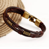 Black Brown Gold-plated Fashion Latin Rope Chain Leather Bracelet And Hide Metal Buckle Decoration Retro Bracelets For Man