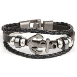 Black/Brown Rock Multilayer Handmade Leather Nautical Anchor Bracelets Men Retro Braided Charm Bracelet Pulseras MujerBlack/Brown Rock Multilayer Handmade Leather Nautical Anchor Bracelets Men Retro Braided Charm Bracelet Pulseras Mujer