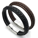 Black Genuine Leather Bracelet Men Bangle With Stainless Steel Fashion New Men Jewelry Rock Chunky Leather Men's Bracelets