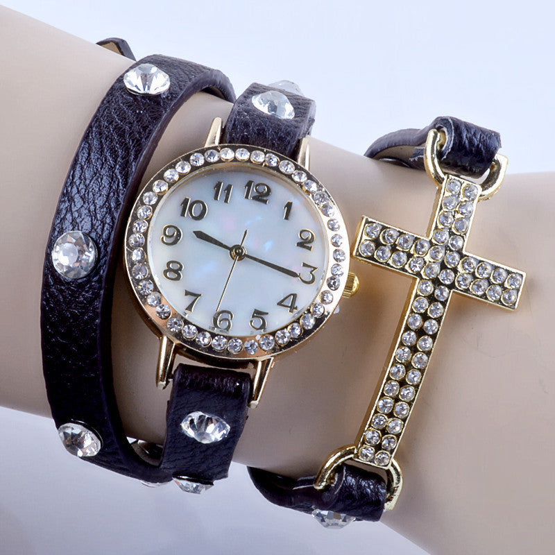 New Korean Lady Fashion Watch Simple Cross Inlaid Rhinestones Long Leather Bracelet Quartz Watches Women Dress Watch