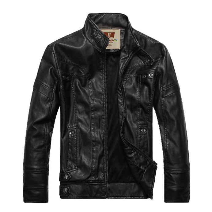 New Hot HOt New Warm Men's Leather Motorcycle Standing Collar Jackets Coat