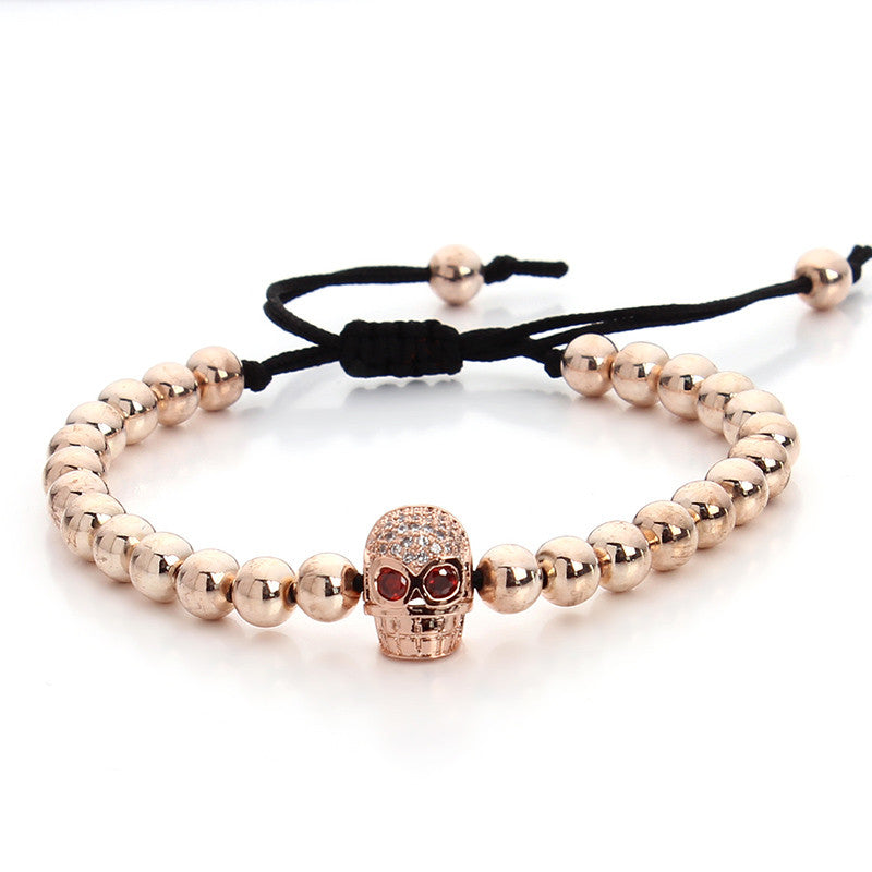 Trendy Black Hematite Stone Macrame Bead Bracelet Female Skull Charms Bracelet & Bangle For Womens Men Adjust Size