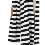 Black and White Striped Elbow Patching PU Leather Long Sleeve Knitted Cardigan Fall Slim Spring Autumn Women Sweater
