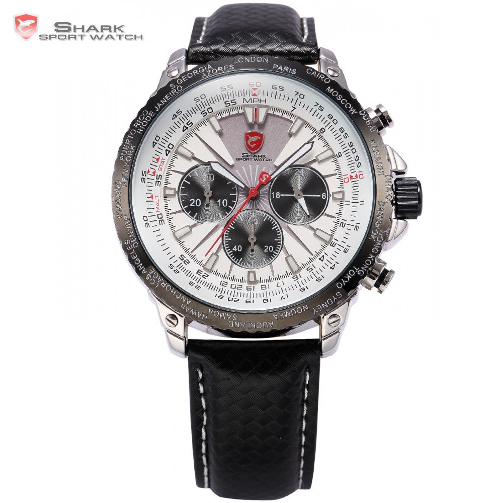 Blacktip Shark Sport Watch Chronograph 24 Hours Display Index White Dial 3 ATM Water Resistant Men Fashion Quartz Watches