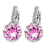 New 925 sterling silver Huggies Earring Women Black Zircon Crystal Earrings for Women