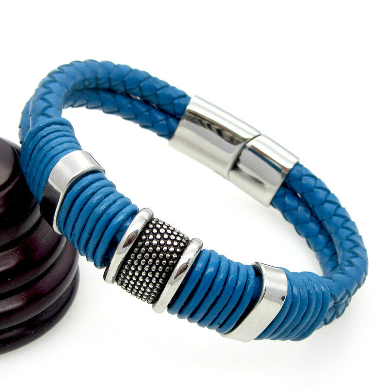 Blue Genuine Leather Bracelet Men Jewelry Stainless Steel Leather Braid Bracelet With Magnetic Buckle Claps pulseiras masculina