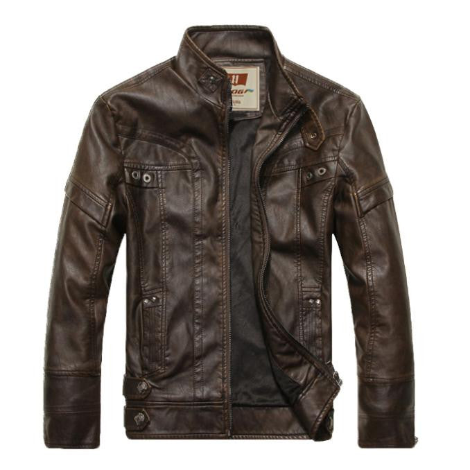 New Hot Sale New Warm Men's Leather Motorcycle Standing Collar Jackets Coat