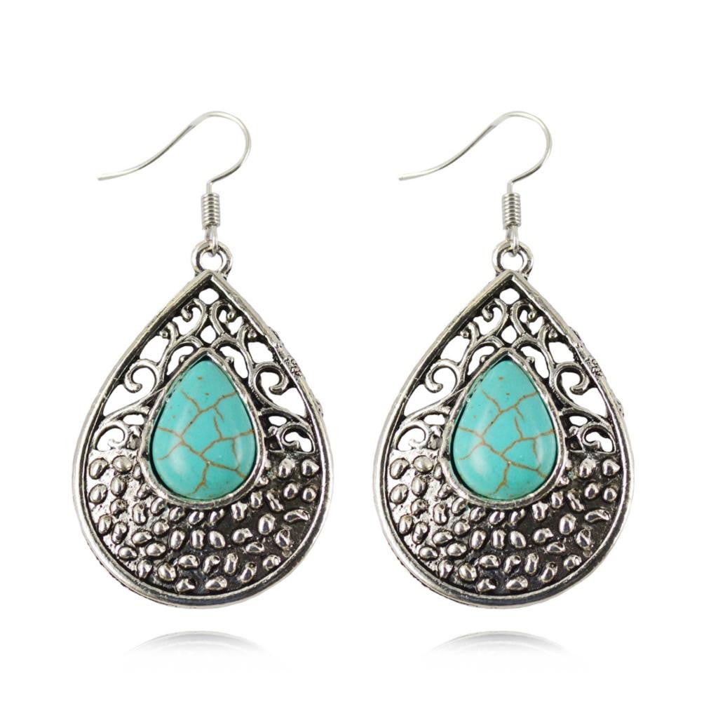 Bohemia Dangle Earrings Fashion Tibetan Turquoise Water Drop Shaped Earrings For Women Long Earrings Fine Jewelry