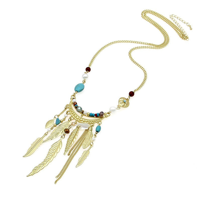 Bohemia Leaves Tassel Long Necklace For Women Golden Chain Bead Simple Necklaces & Pendants Collier Bosewin Jewelry