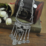bohemian Jewelry Vintage Coin Long Pendant Necklace Antique Silver Chain Gypsy Tribal EthnicTurkish Statement women Boho Jewelry