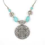Bohemian Carved Tibetan Silver Turquoise Stone vintage choker necklace chain Jewelry Jewellery Bijouterie for Women Girl's