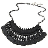 Bohemian Gypsy Tassel Silver Coin Necklaces & Pendants for Women Vintage Statement Maxi Necklace Choker Collier Femme