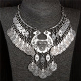 Bohemian Vintage Chunky maxi Statement Necklaces for Women Exaggerated Silver Coin Choker Necklaces & Pendants