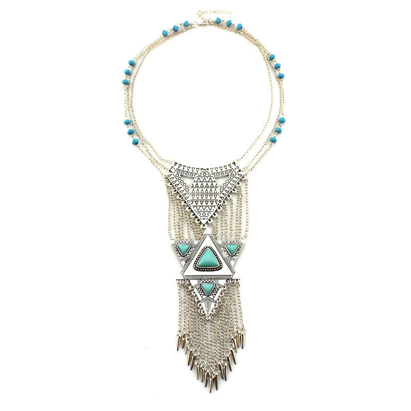Boho Style Fashion Silver Long Chains Tassels Necklaces Vintage Alloy Collar Statement Necklace & Pendants Collier