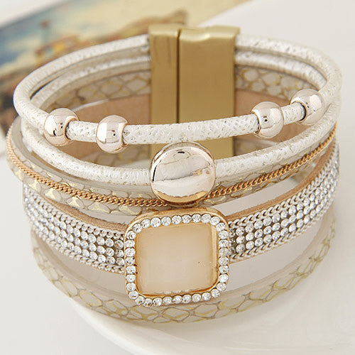 Boho Women Fashion Gem Rhinestone Magnetic Leather Bracelets&Bangles Bohemian Handmade Wristband jewelry pulseira feminina
