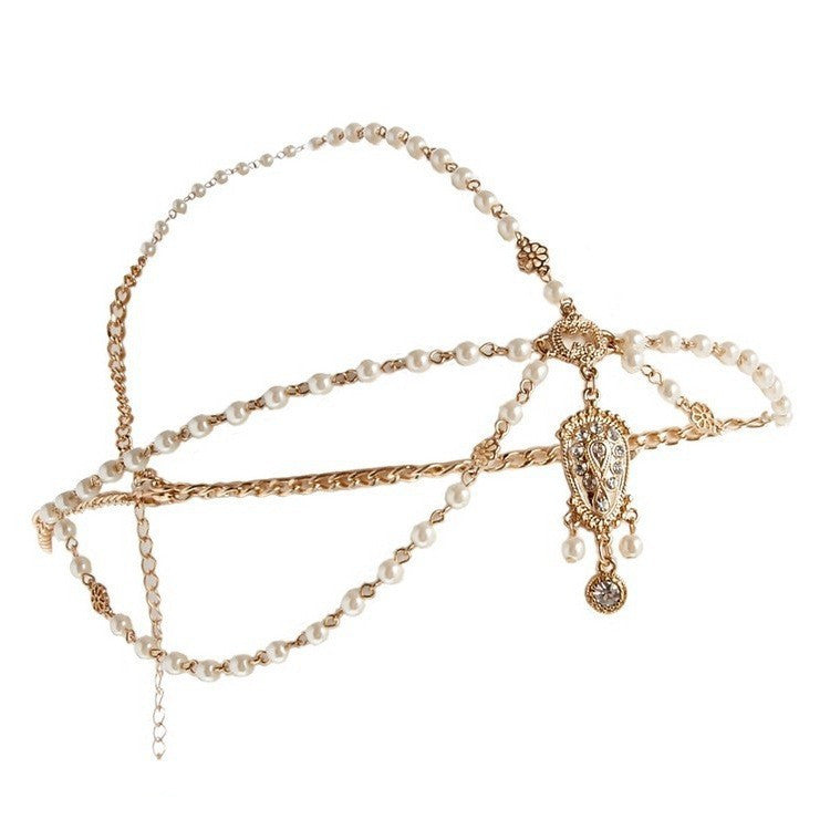 Women's Simulated Pearl Tassel Bohemian Head Chain Jewelry Forehead Dance Headpiece Hair Jewelry Band Chains Hair Accessory