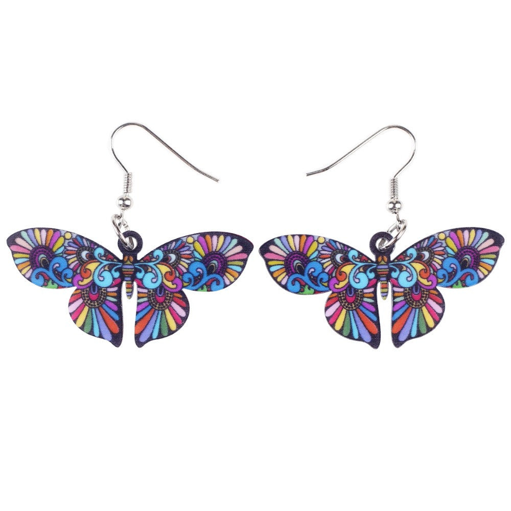 Bonsny Drop Butterfly Earrings Long Big Dangle Acrylic Earrings News Spring Summer Girl Woman Fashion Jewelry Accessories