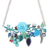 Bonsny Statement Bird Flower Choker Necklace Enamel Alloy Collar Pendant Fashion New Jewelry For Women Charm Accessories