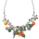 Bonsny Statement Enamel Fruit Bird Butterfly Necklace Flower AlloyLong Chain Collar  New Fashion Brand Jewelry For Women
