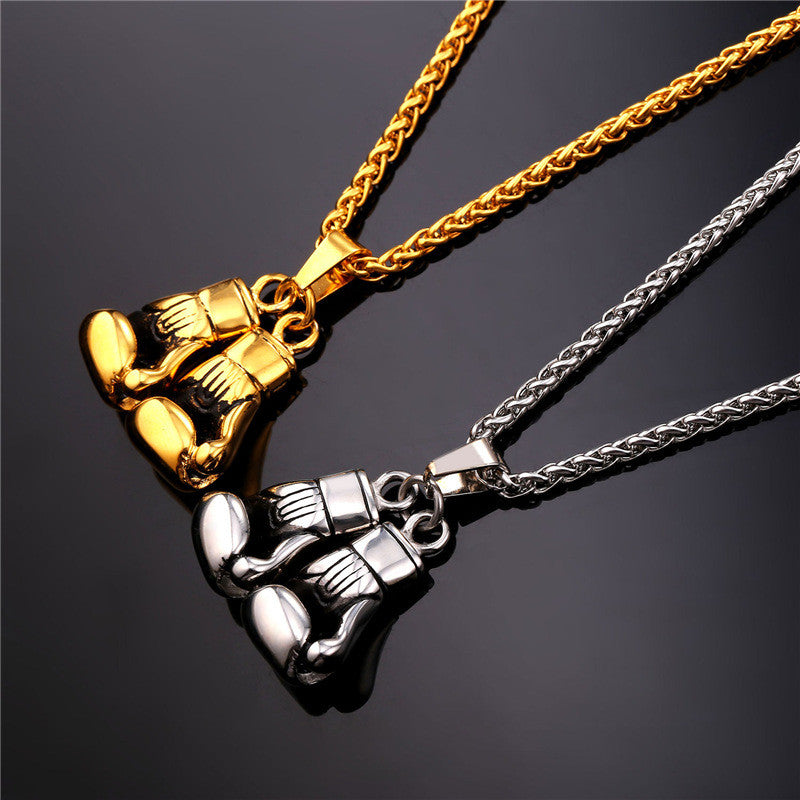 Golden Boxing Glove Pendant Charm Necklace Sport Jewelry 316L Stainless Steel Yellow Gold Plated Chain For Men