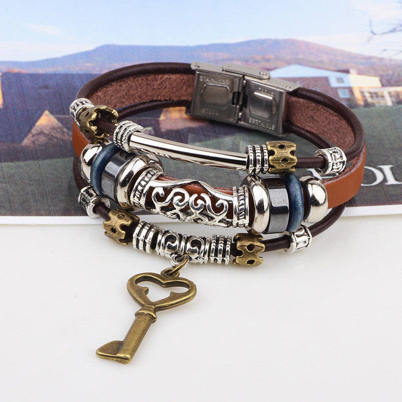 Hot Women Braid Genuine Multilayer Leather bracelet Charm key brass Bracelets Bangles Jewelry pulseras hombre