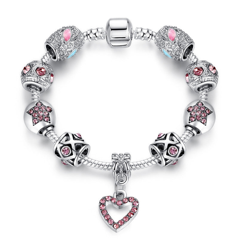 Bracelets For Women Tibetan Silver Plated&Crystal Heart Charm Bracelet&Bangle With CZ Diamond Bracelet Jewelry Pulseira