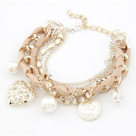 Women Fashion Simulated Pearl Heart Charm Bracelets & Bangles Pulseiras Femininas Pulseras Bijoux Men Jewelry