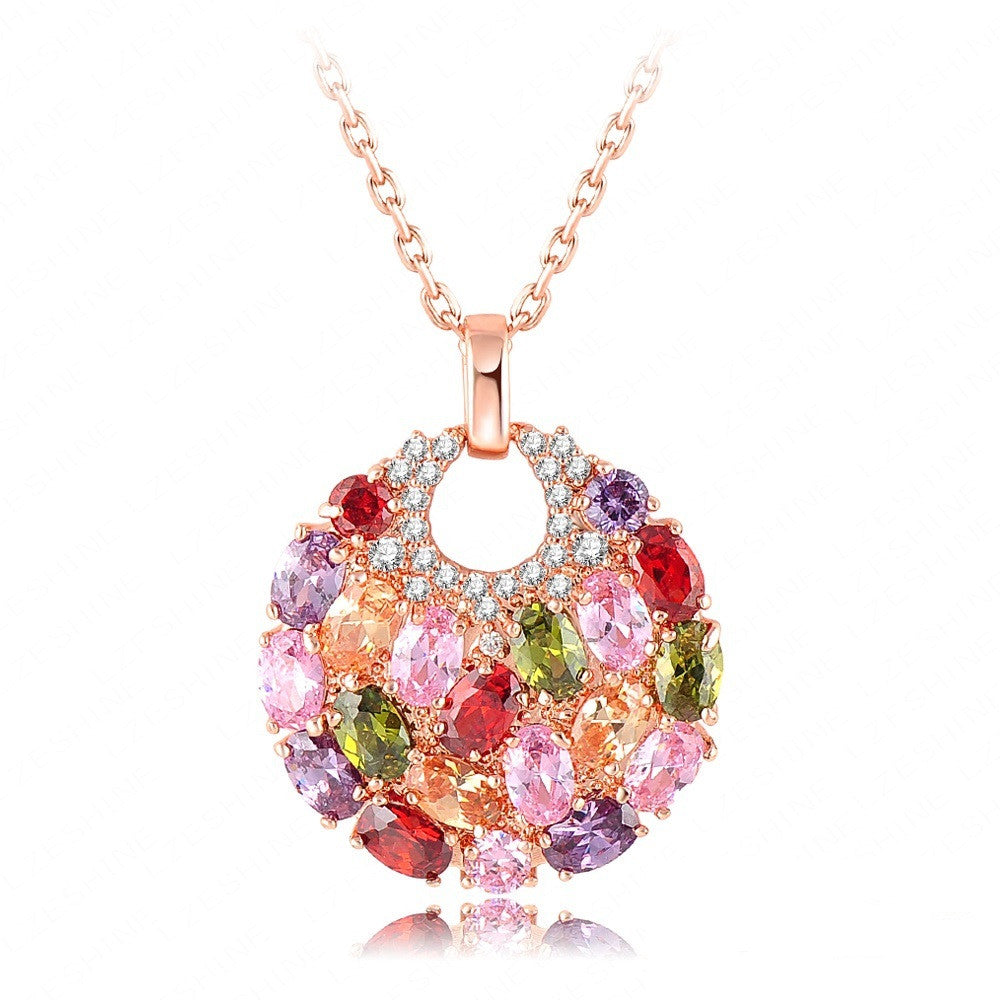 New Brand 18K Rose Golden Plated Luxury Necklaces & Pendants Inlay Multi Color AAA Swiss Cubic Zircon