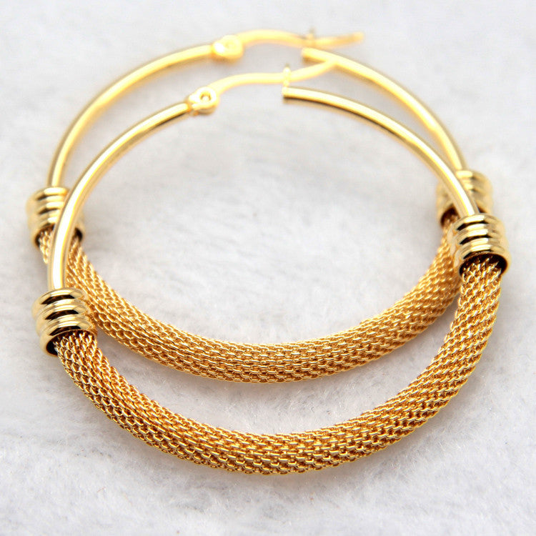Brand Earrings For Women Fashion Jewelry Gift Wholesale Trendy 2 Colors 18K Real Gold/Platinum Plated Net Round Hoop Earrings