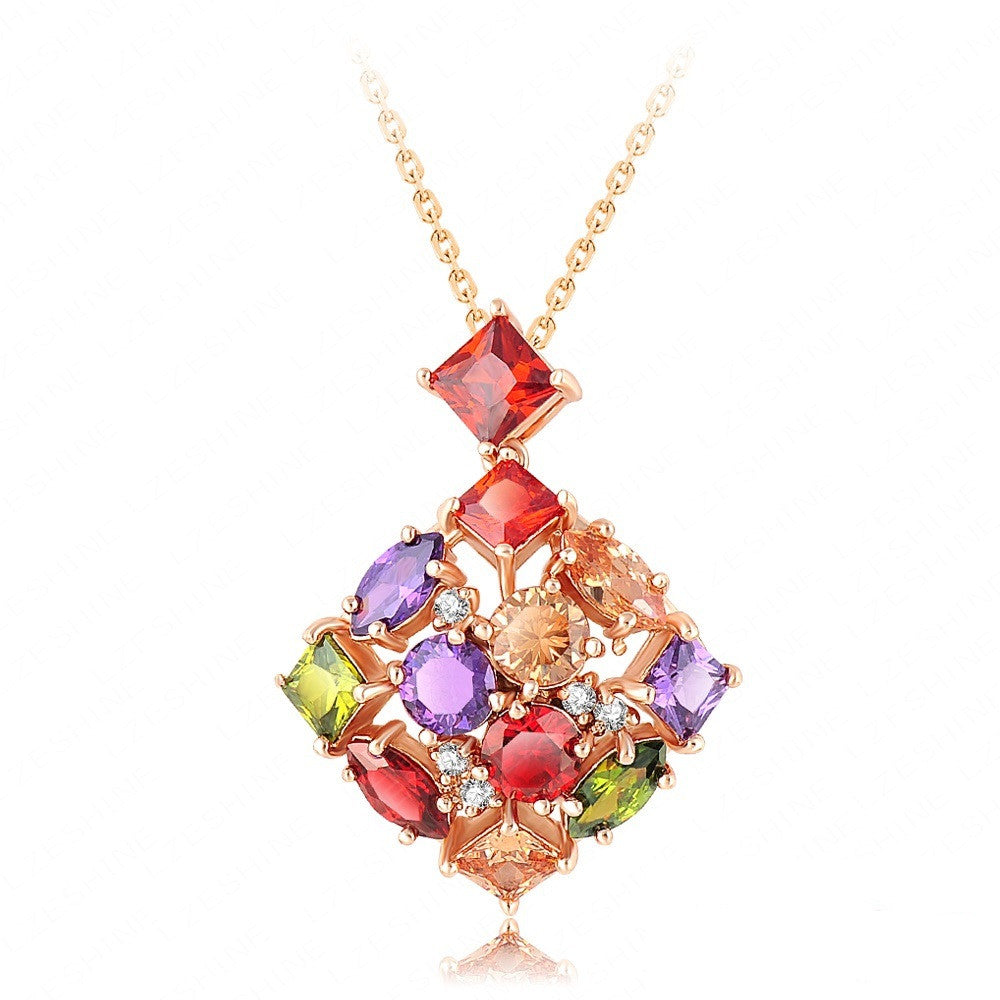 Fashion High Quality Luxury Wedding Jewelry 18K Golden Plated Necklaces & Pendants Inlay Colorful Zircon Crystal