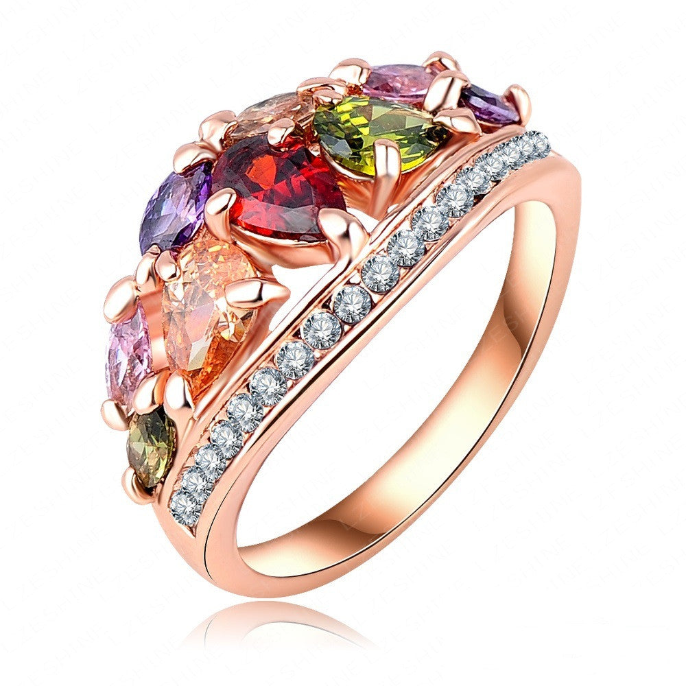 New Arrival Multi Color Fashionable Ring for Women Rose Gold Plated with AAA Swiss Zircon Rings