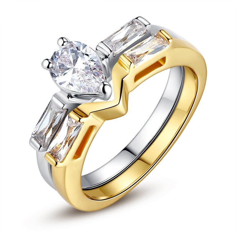 New Luxury 18K Gold Plated Finger Set Ring for Women Ladies with Cubic Zircon Crystal Jewelry Birthday Gift