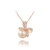 Brand Pearl Jewelry Big Pearl Pendant Necklace Bowknot Necklace Gold/Silver Chain Royal Necklace Women Fashion
