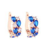 Brand Women Jewelry Wholesale Mona lisa Rose White Gold Plated 6 Color choice AAA+ Zircon & CZ Diamond Drop Earrings