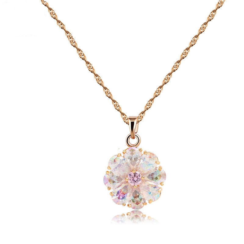 Brand New Arrival Shining Rainbow Flower Cubic Zircon Pendant Necklace for Women Girl's Jewelry Gift Champagne Gold Plated