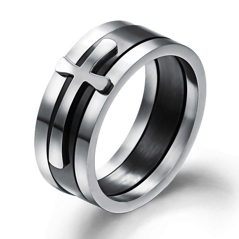 Brand New Black Ring Man Fashion Male Jewelry Accessories Wide Cool Cross Rings For Men Titanium Steel Mens Rings Anel