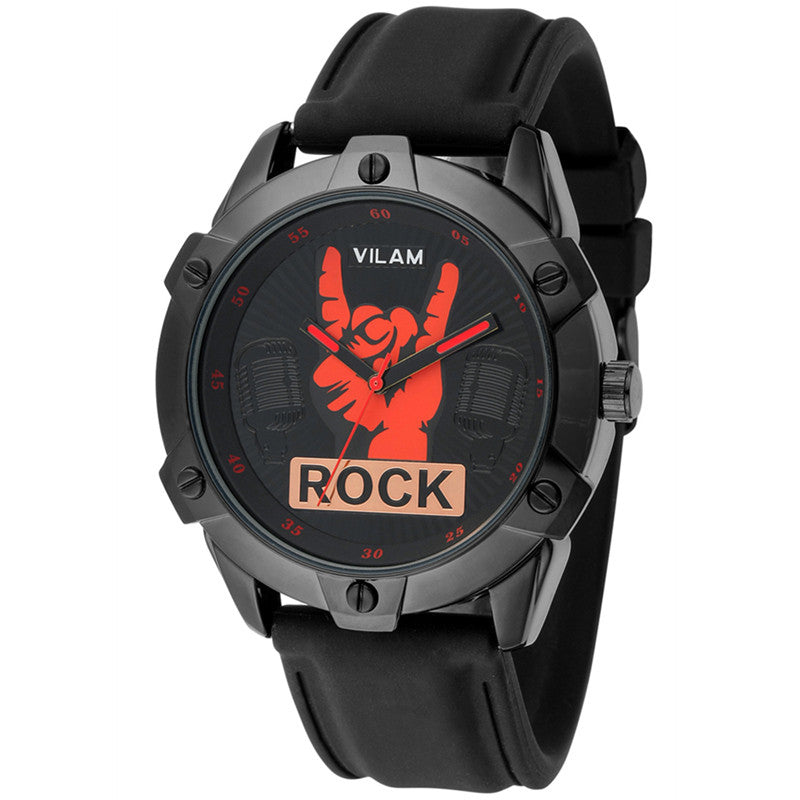 Brand New Cool Rock Man Fingers Model Design Fashion Trends Quality Rubber Band Japan Quartz Black Watch relogio masculino